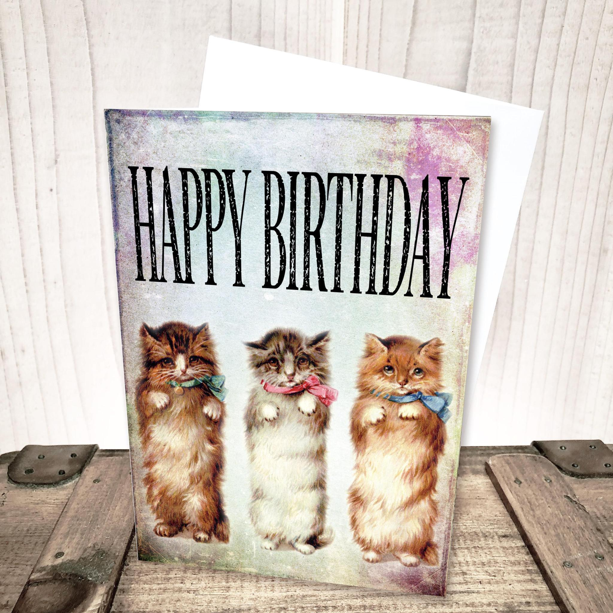 Three Cats Happy Birthday Card by Yesterday's Best