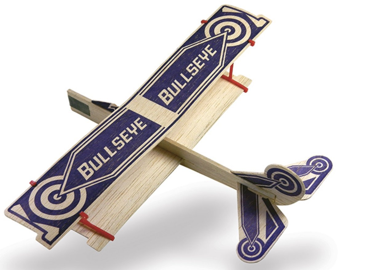 Two Bullseye Balsa Wood Gliders