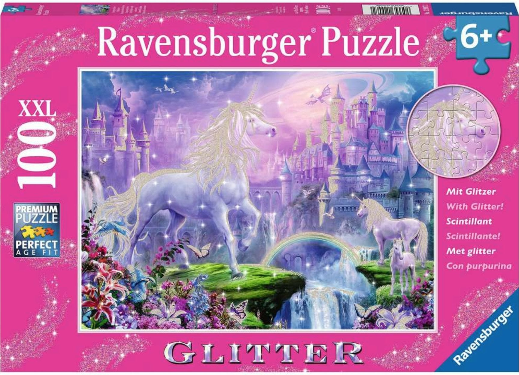 Unicorn Kingdom Glitter 100 Piece Puzzle by Ravensburger