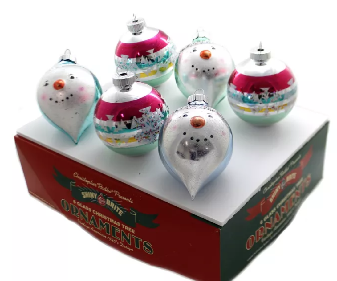 VC 3.25 Dec Rounds With Figures Ornaments Snowmen by Shiny Brite