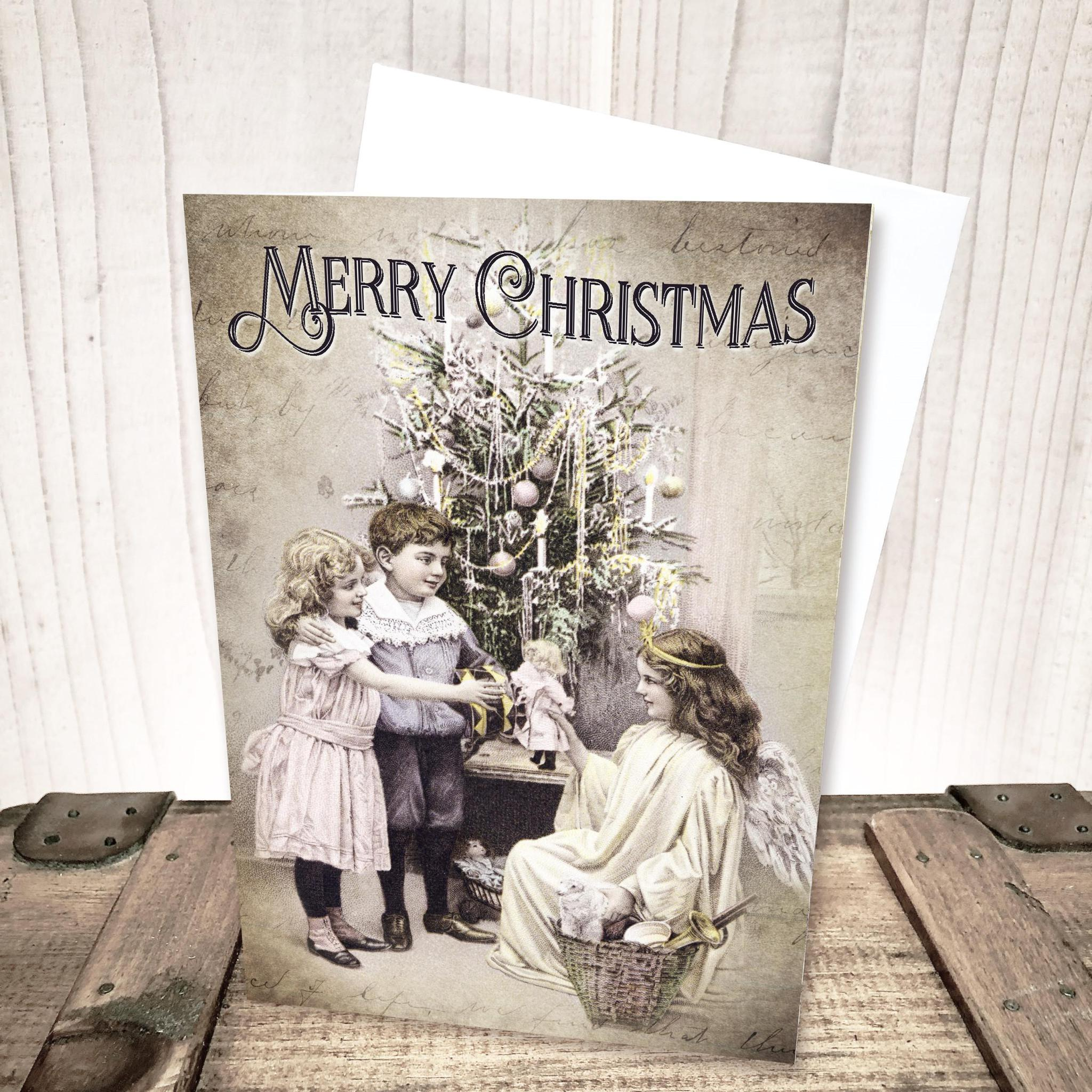 Victorian Angel with Tree Christmas Card by Yesterday's Best