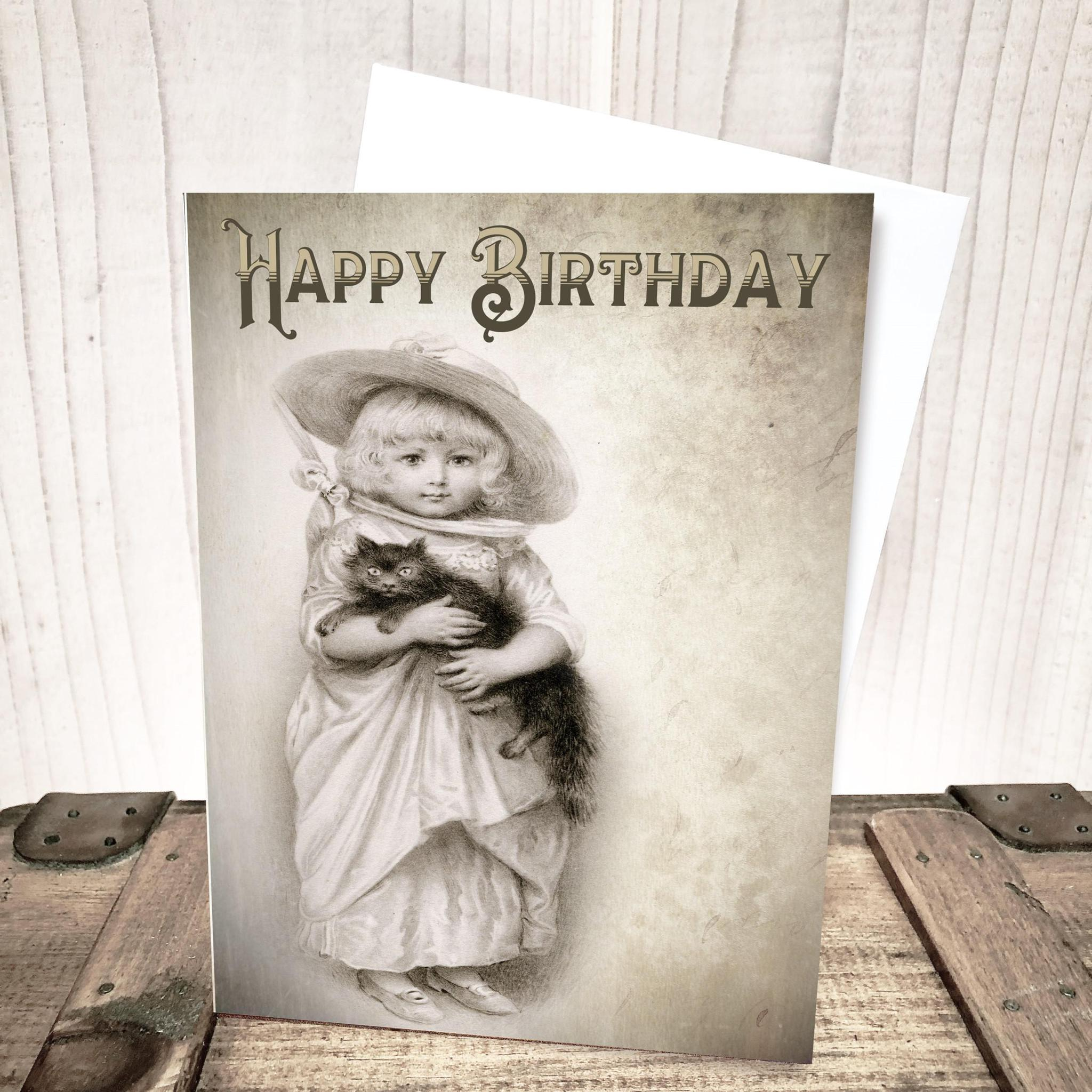 Victorian Girl with Kitten Birthday Card by Yesterday's Best