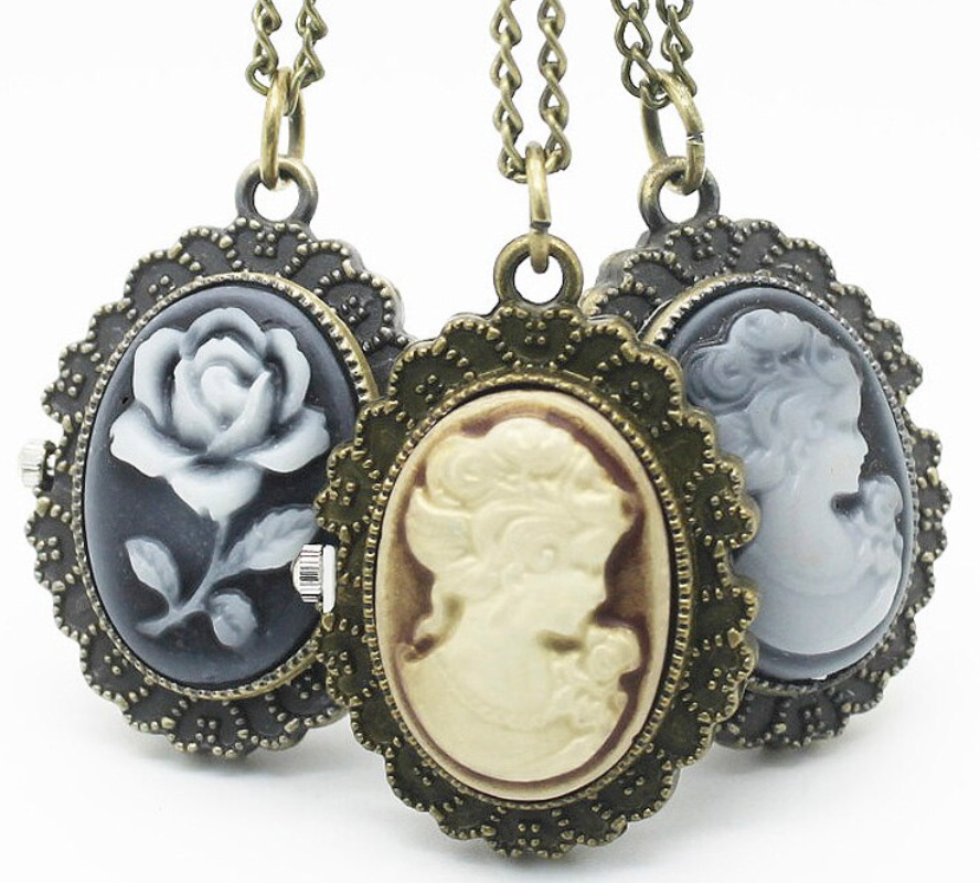 Victorian Lady Rose Fashion Jewelry Open Faced Pocket Watch Necklace Pendant