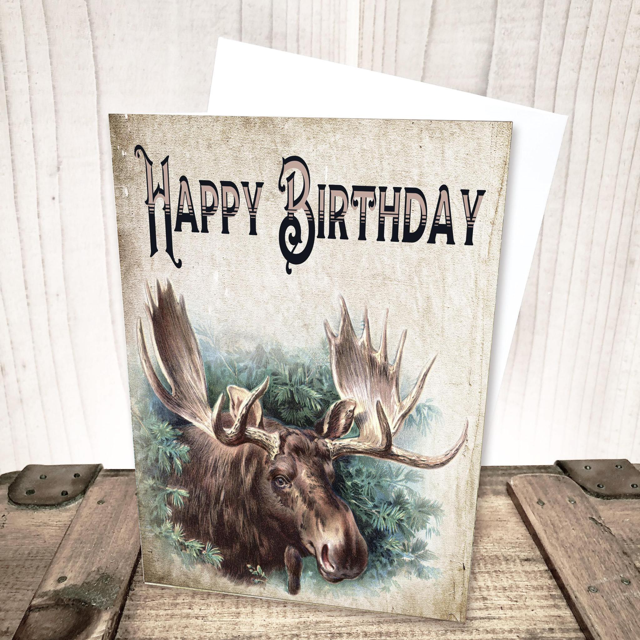 Vintage Moose Birthday Card by Yesterday's Best