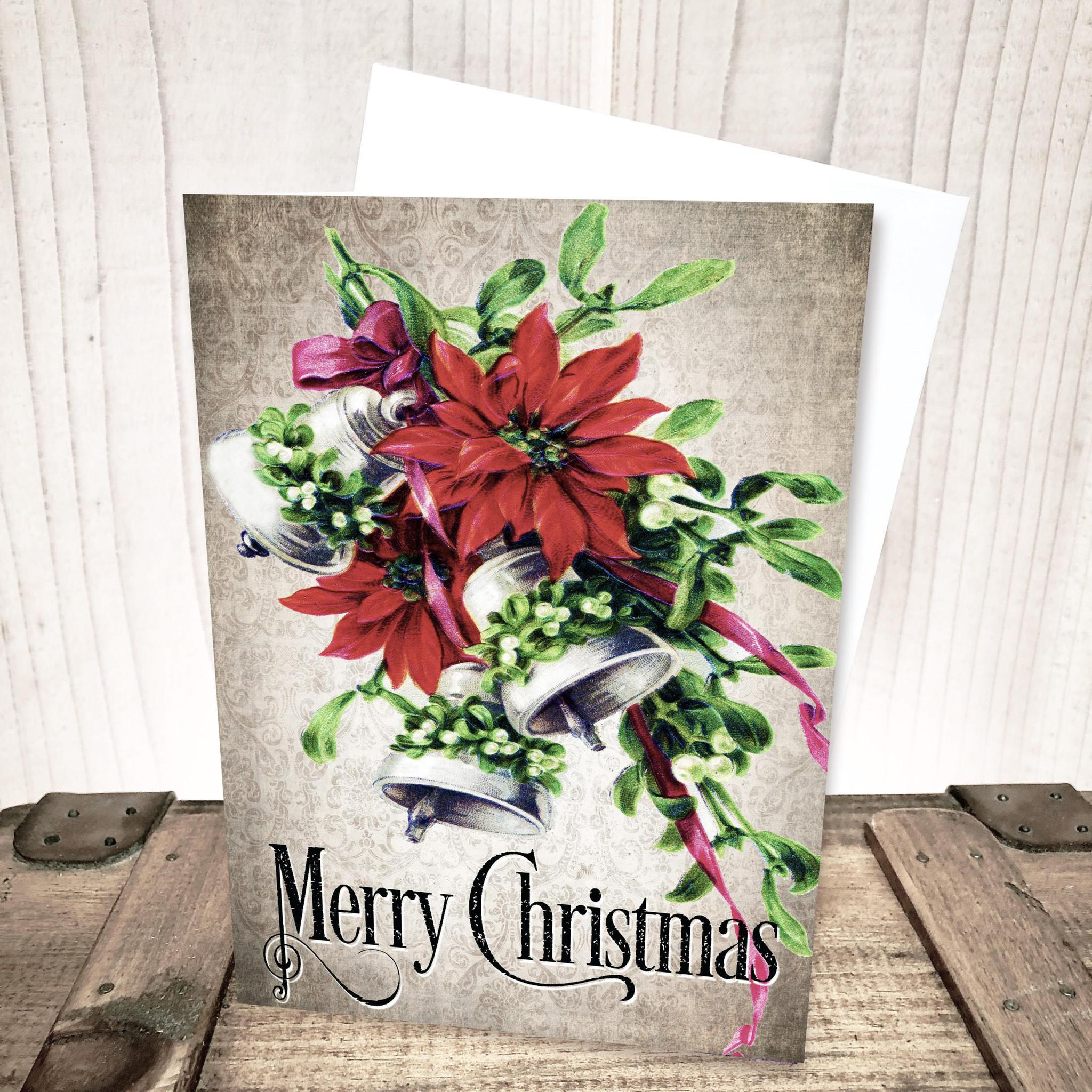 Vintage Poinsettia Merry Christmas Card by Yesterday's Best