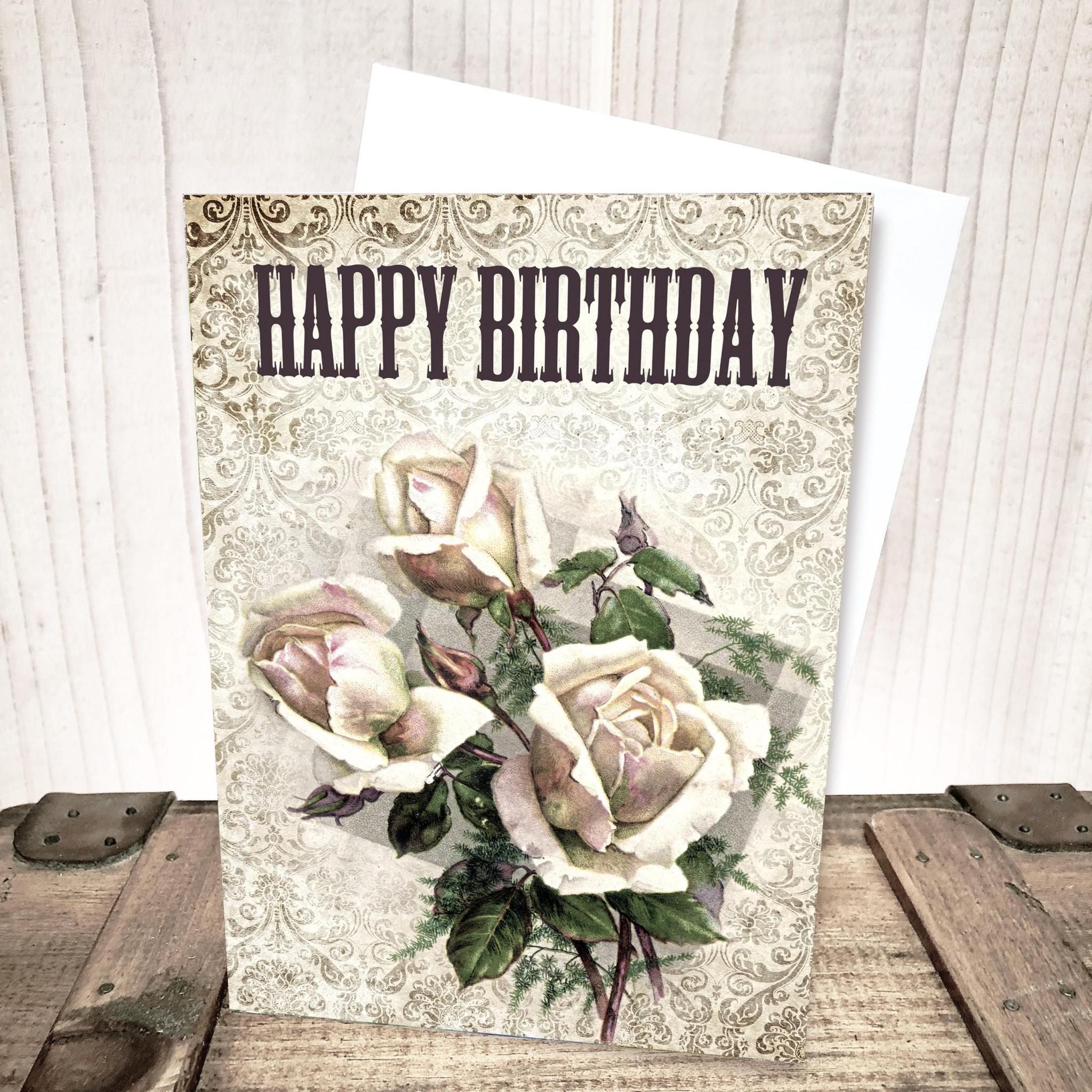 Vintage Roses Birthday Card by Yesterday's Best