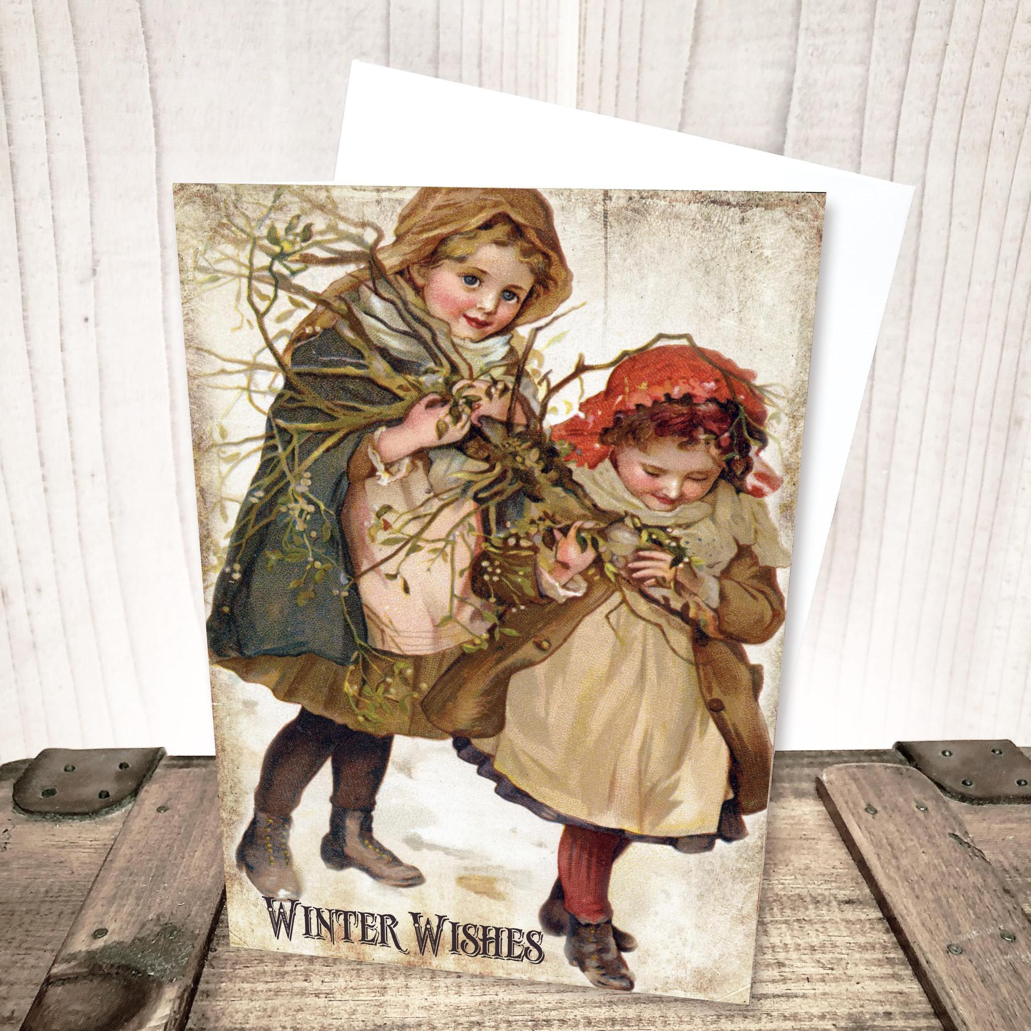Vintage Winter Children Christmas Card by Yesterday's Best
