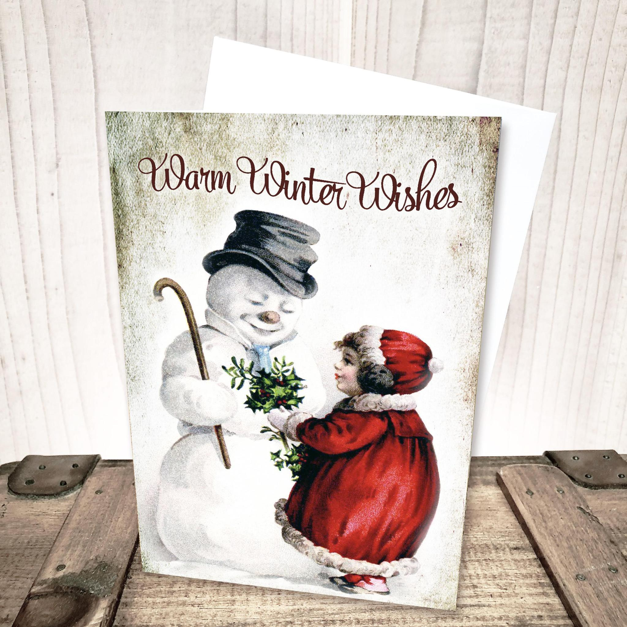 Warm Winter Wishes Snowman Christmas Card by Yesterday's Best