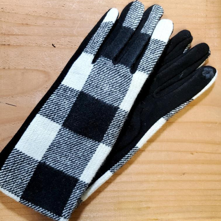 Women's Plaid Texting Gloves White / Black Plaid