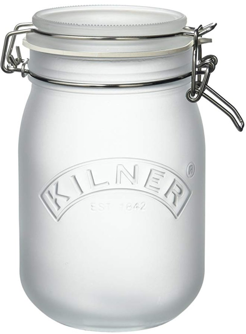 Kilner White Frosted Clip Top Jar, 1L White