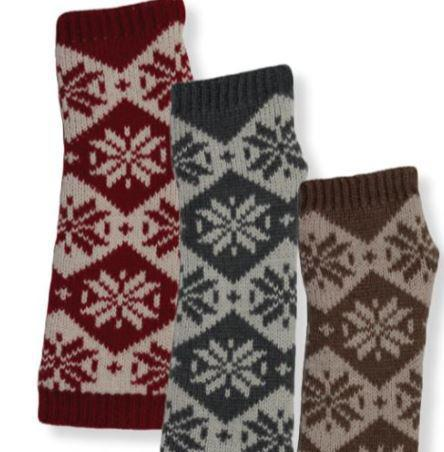 Women's Arm Warmers Snowflake Pattern