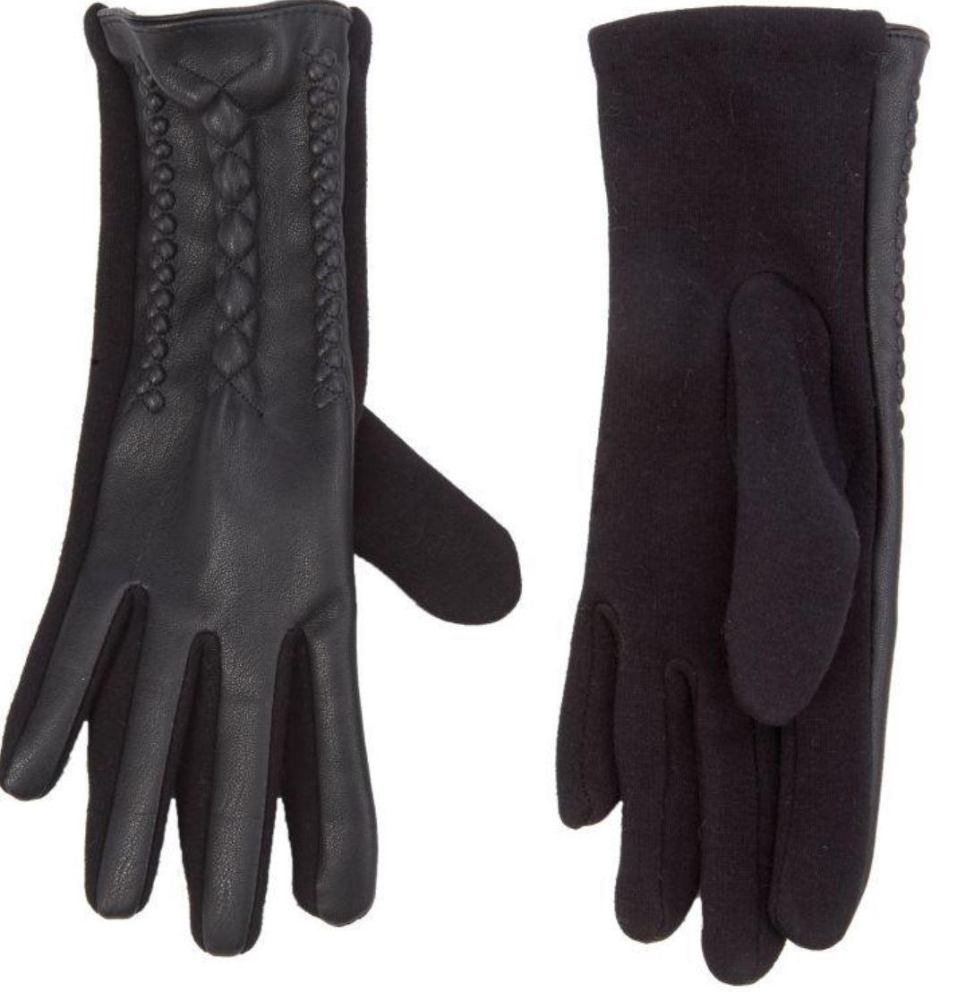 Women's Black Faux Leather Gloves