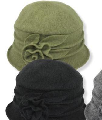 Women's Wool Hat Bucket with Rose