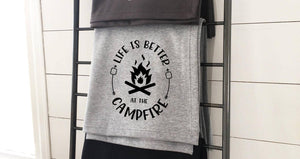 Life Is Better At The Campfire Sweatshirt Blanket (ATH GREY)