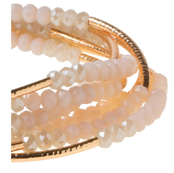 Beaded Bracelet Wrap Gold, Ivory, & grey