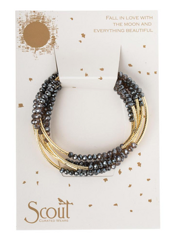 Beaded Bracelet Wrap Gold & Dark Grey