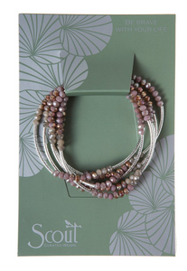 Beaded Bracelet Wrap Silver & Mauve
