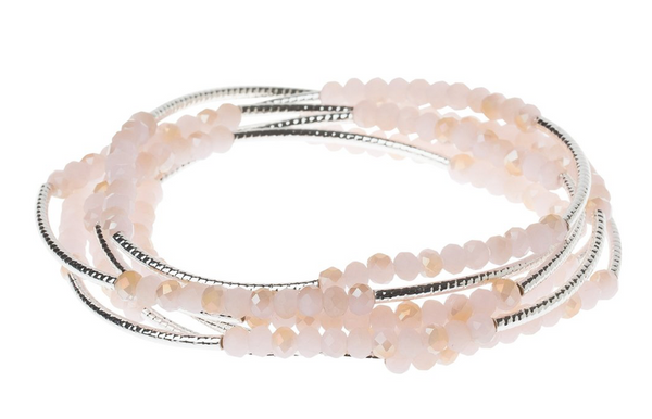 Beaded Bracelet Wrap Gold Silver & Light Pink