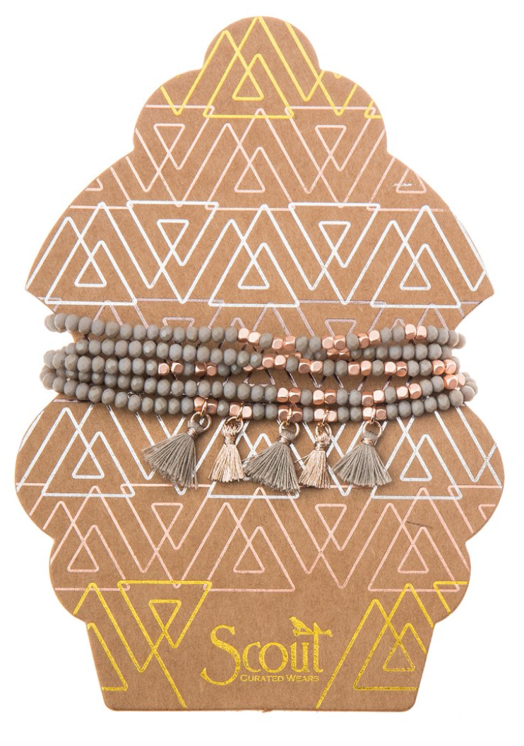 Beaded Bracelet Wrap Grey & Copper