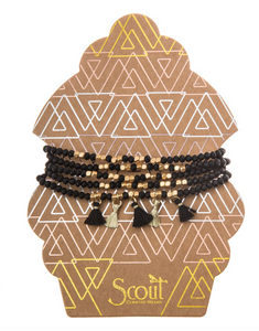 Beaded Bracelet Wrap With Tassels Black