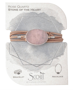 Leather and Stone Bracelet Rose Quartz
