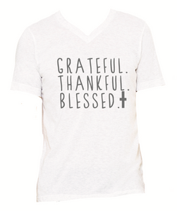 Grey V-neck Grateful Shirt