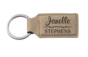 Personalized Faux Leather Keychain