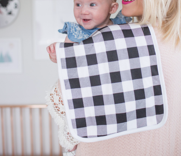 Black and White Check Burp Cloth