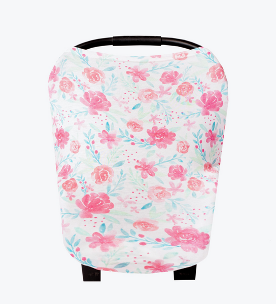 Pink and Peach Floral Carseat Cover