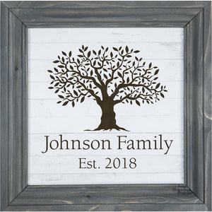 Personalized White/Grey Framed Sign