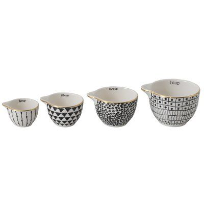 Ceramic Measuring Cups black/white