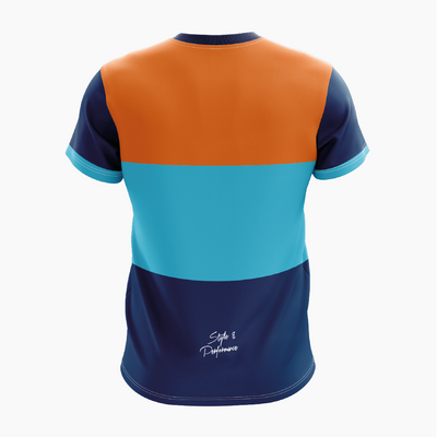 T-shirt manches courtes - OR/CYAN/NAVY