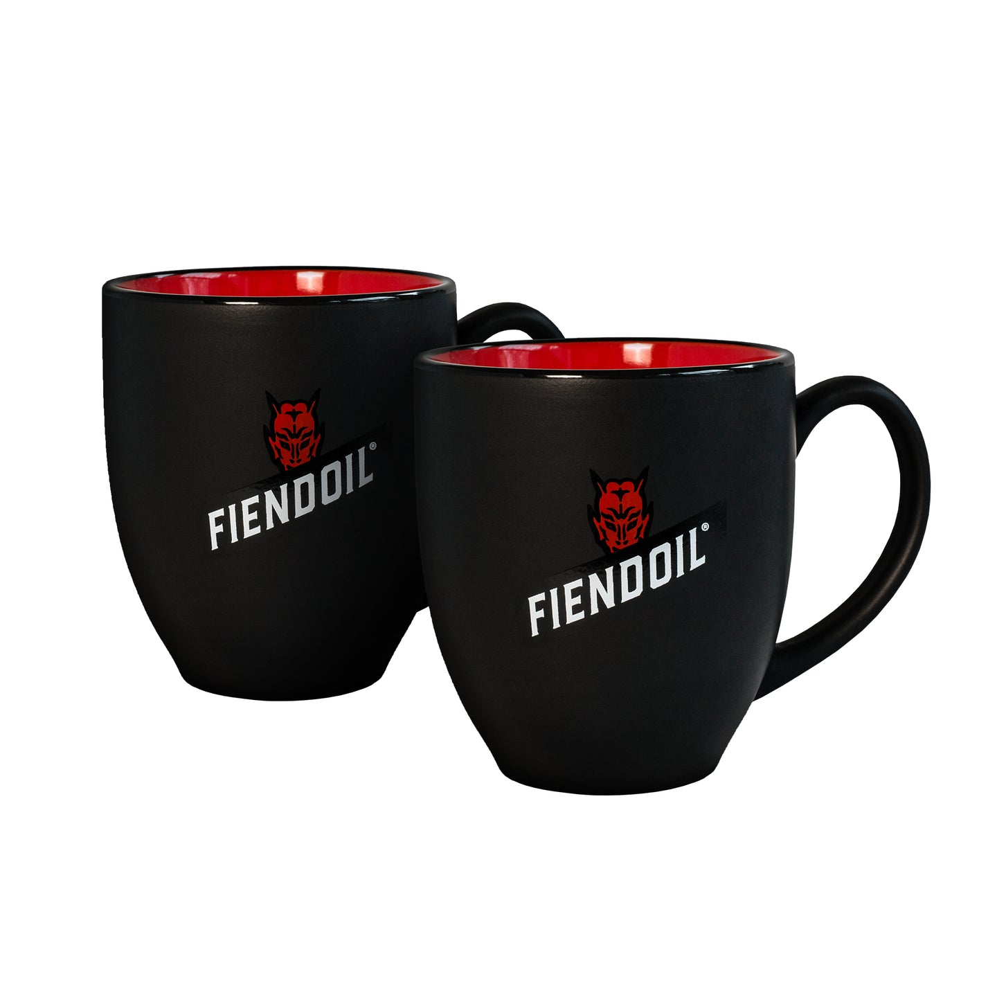 Ceramic coffee mugs - 15 Oz. Matte black/red interior.  2-Pack