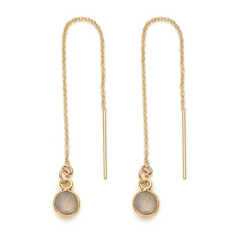 Aubrey Threader Earring in Grey Moonstone