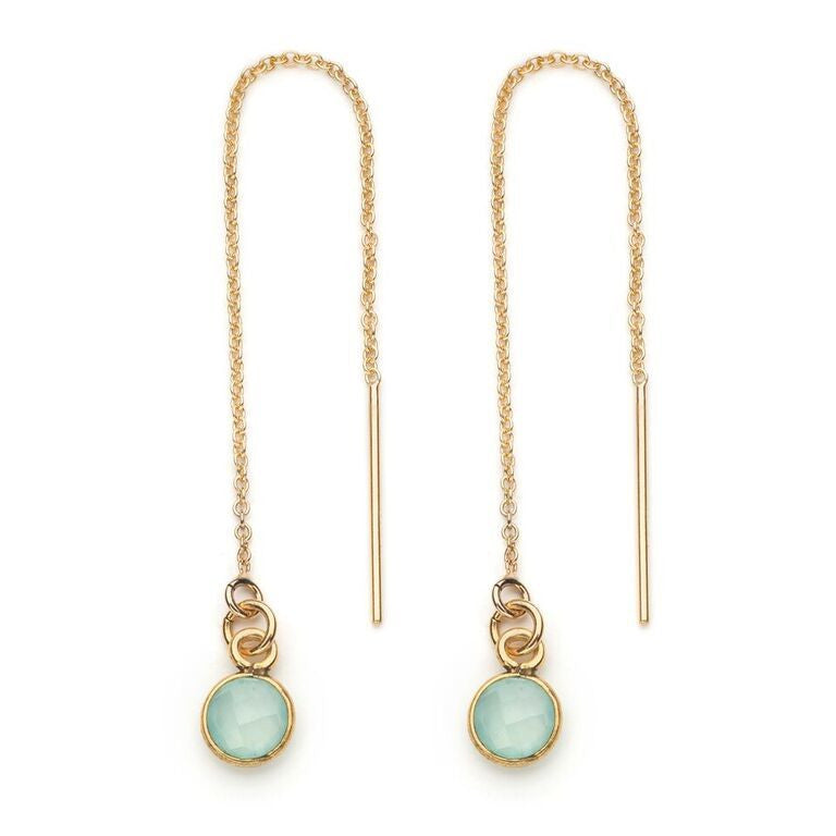 Aubrey Threader Earring in Sea Green Chalcedony