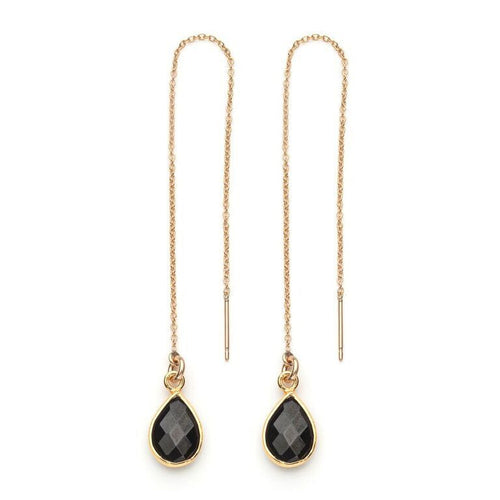 Water Threader Earring in Black Spinel