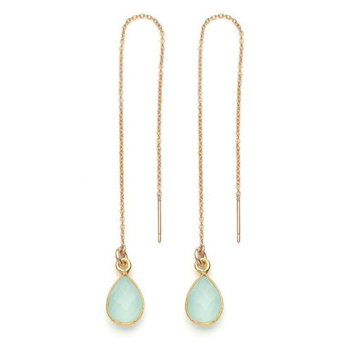 Water Threader Earring in Sea Green Chalcedony