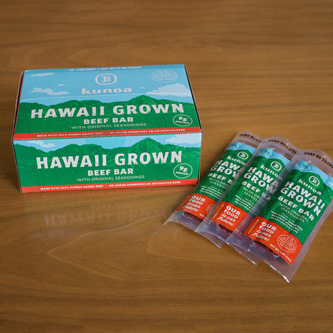 100% Hawaii Grown Beef Bars. 12 bars per sleeve.