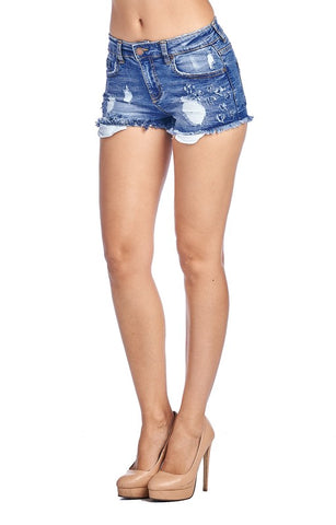 Wreck-Reational Activity Light Blue Distressed Denim Shorts