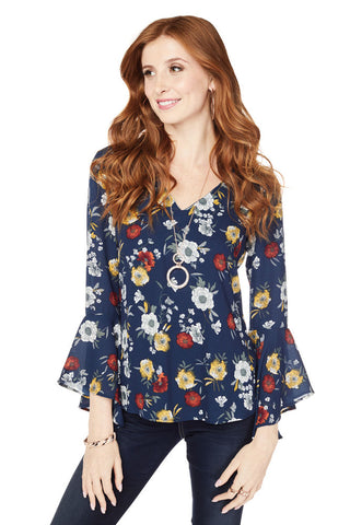 Floral Temptation Bell Sleeve Top