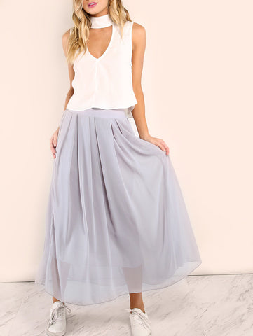 Not Together Grey Maxi Skirt
