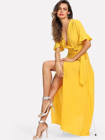 Bell Sleeve Buttoned V-Neck Wrap Dress