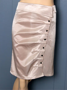 Button Me Up Classic Satin Pencil Skirt