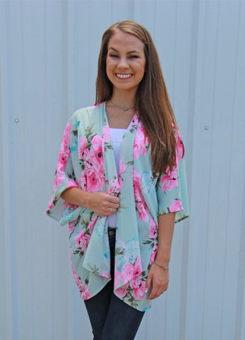 Think a Little Less Floral Print Kimono