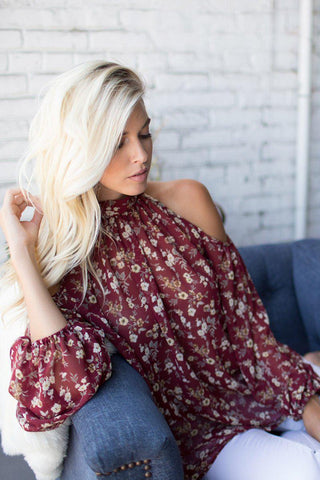I Can Love You Better Cold Shoulder Floral Print Top