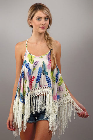 Birds Of A Feather Spaghetti Strap Woven Top