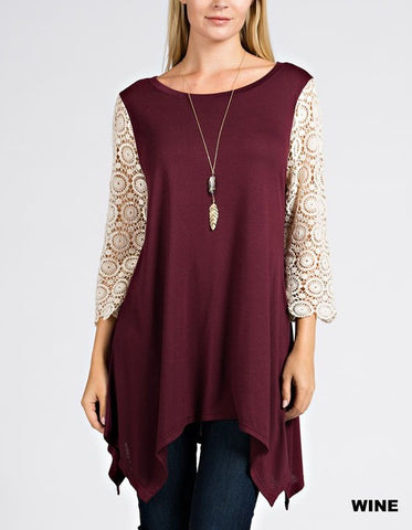 It Suits You Lace Sleeve Knit Tunic