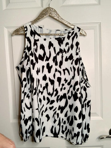 Why Not Animal Print Cold Shoulder Top