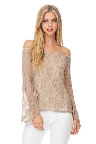 Get Over It Lace Off The Shoulder Top