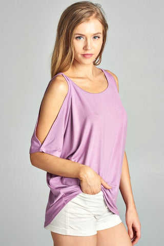 Love Somebody Cold Shoulder Lavender Top